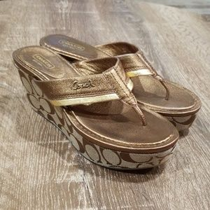 Coach Jody tan & bronze platform wedge sandals 7.5